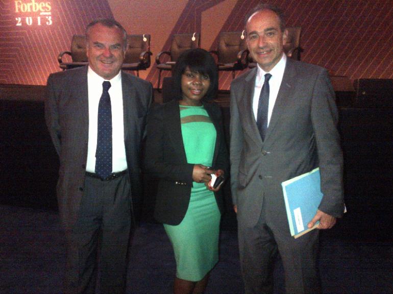 Le député UMP Alain Marsaud au Forum Forbes avec Jean-François Copé et Annoncia Badiabio, militante UMP, le 24 juillet 2013.© alainmarsaud.fr