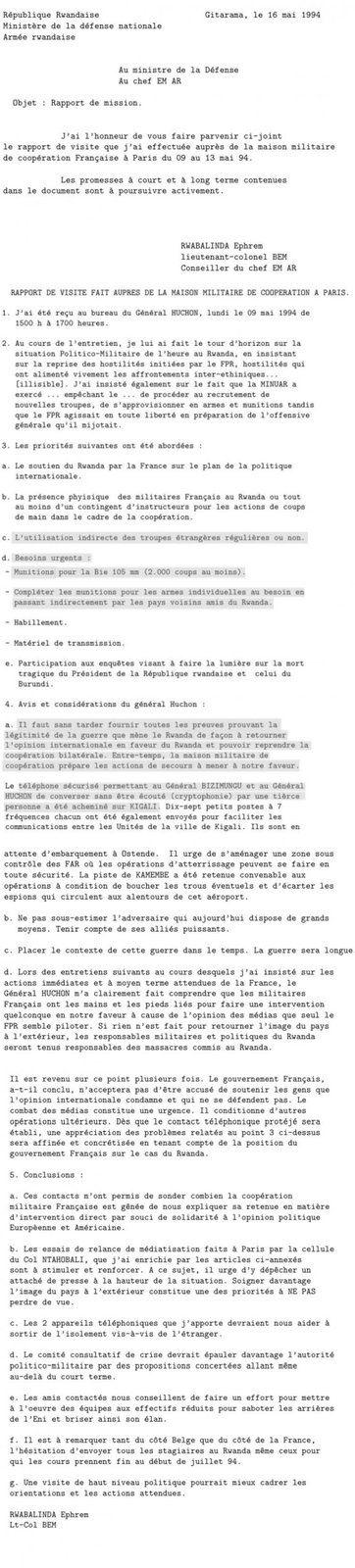 Complicité française dans le génocide au Rwanda. Document 15 : Rapport de visite fait auprès de la Mission militaire de coopération à Paris, rédigé par le colonel rwandais Ephrem Rwabalinda (Survie)