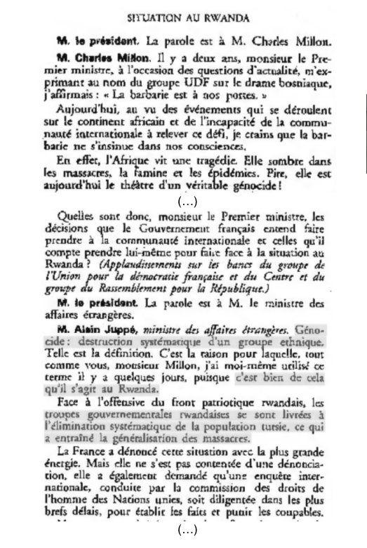Implication française dans le génocide au Rwanda. Document 16 : Alain Juppé évoque le génocide à l'Assemblée nationale, compte-rendu de la séance du mercredi 18 mai 1994