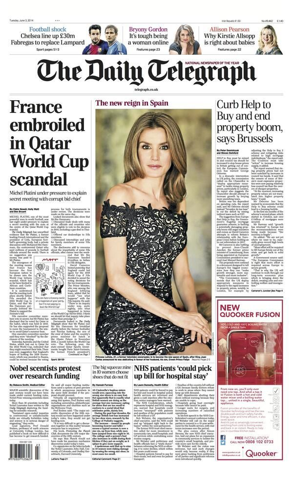 Tuesday's Daily Telegraph front page: 'France embroiled in Qatar World Cup scandal'