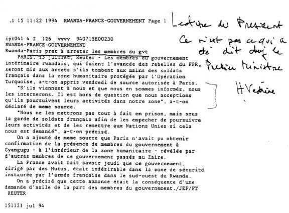 Dépêche Reuters du 15 juillet 1994, annotée par Hubert Védrine, secrétaire-général de l'Elysée