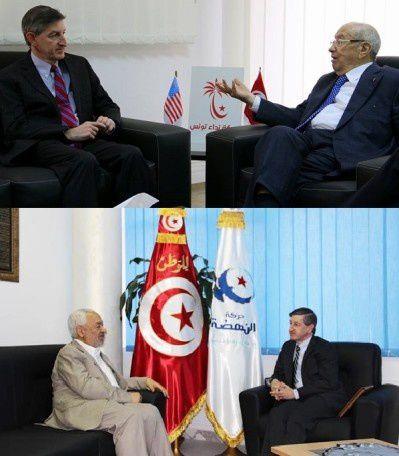 A Tunis, l'ambassadeur américain &quot&#x3B;dégagé&quot&#x3B; d'un bureau de vote par des manifestants dénonçant les ingérences étrangères. Bien vu ! (Solidarité internationale)