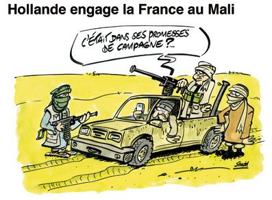 Hollande engage la France au Mali. Charb dans Charlie Hebdo, 2013.