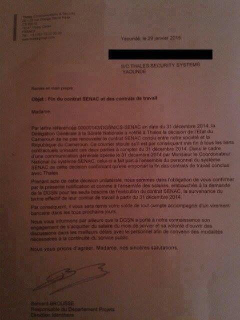 En photo, la lettre de fin de contrat (depuis Thierry Ngongang)