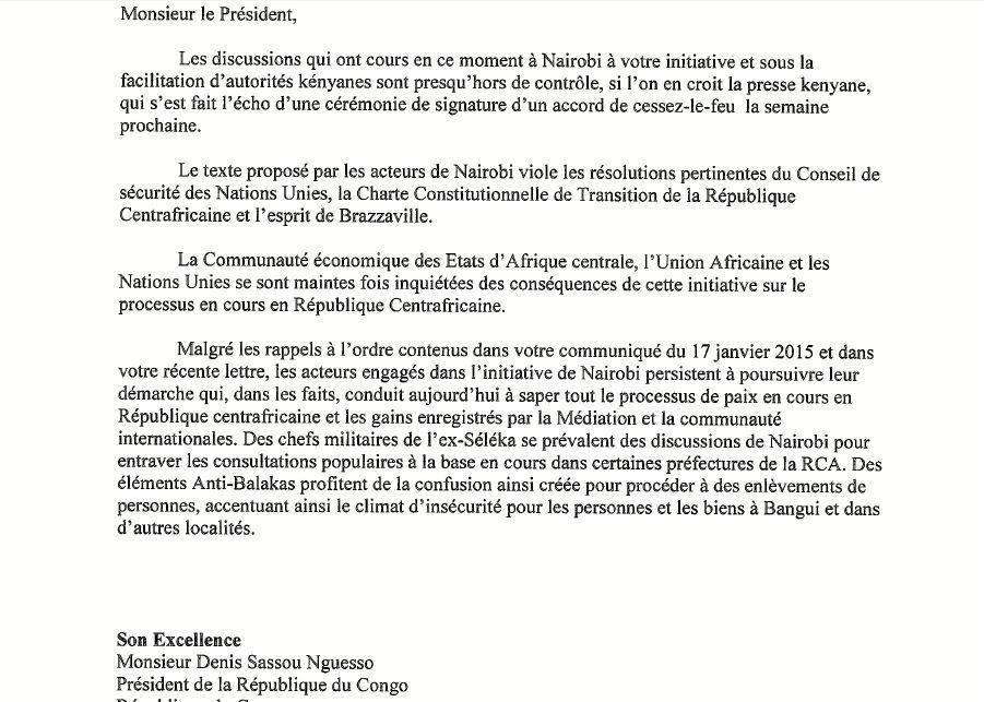 Centrafrique. L'ONU a exigé de Sassou Nguesso qu'il mette fin aux pourparlers de Nairobi