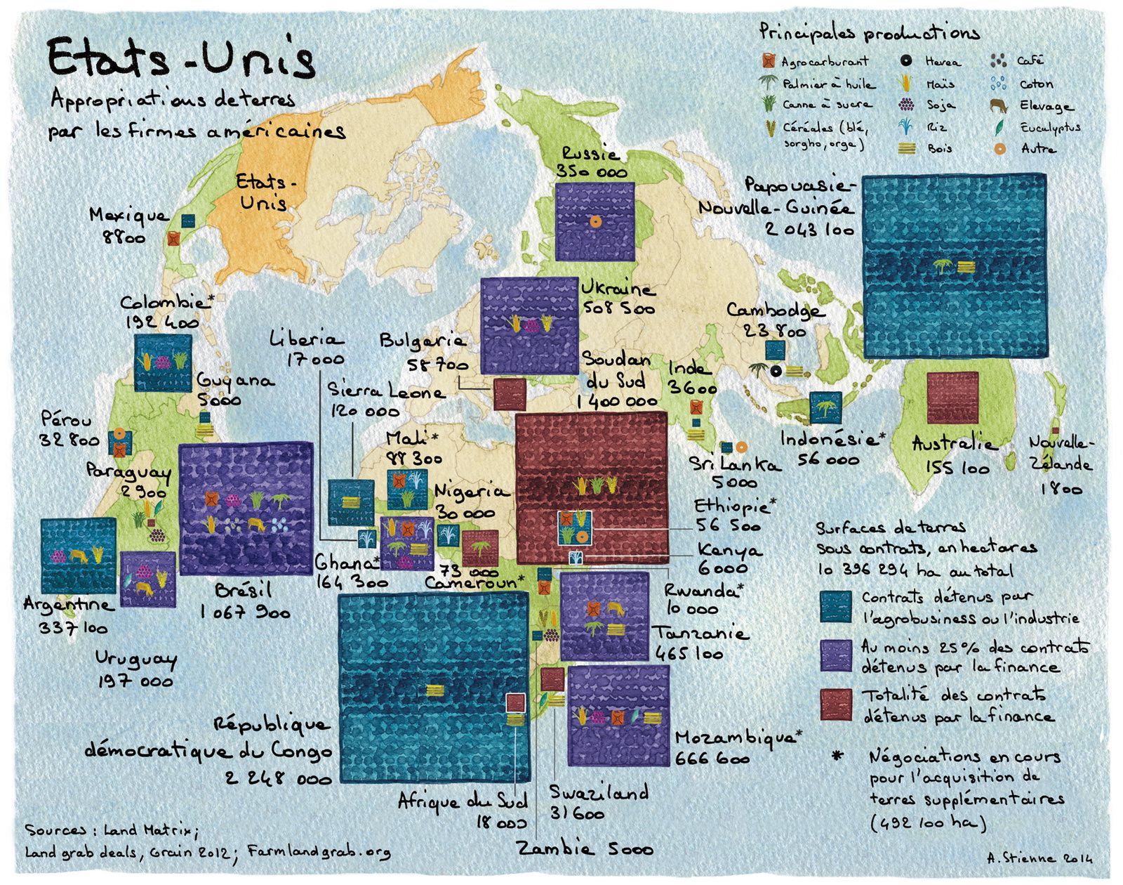 Accaparement de terres : la Chine, l'Inde et les États-Unis aussi... (Visiocarte)