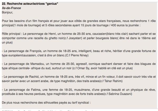 France : une annonce de casting cherche Mamadou le &quot&#x3B;comique&quot&#x3B; et Rachid le &quot&#x3B;voleur&quot&#x3B; (JAI)