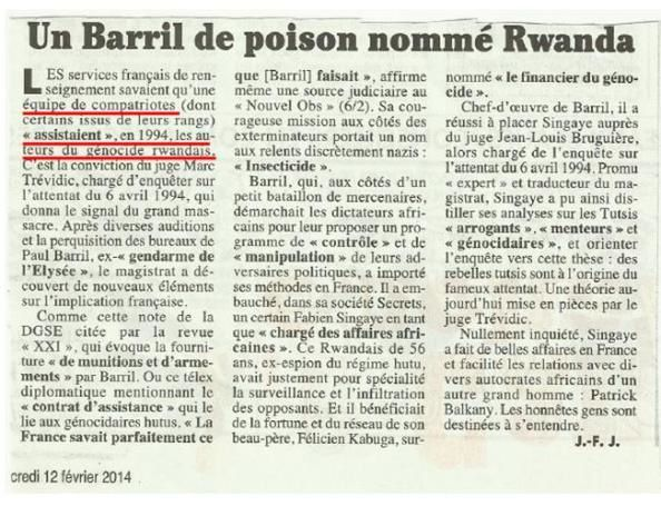 Après la diatribe de François Hollande contre la Turquie au sujet du génocide arménien, à quand la reconnaissance par &quot&#x3B;le chef de guerre&quot&#x3B; français de l'implication française dans le génocide au Rwanda ?