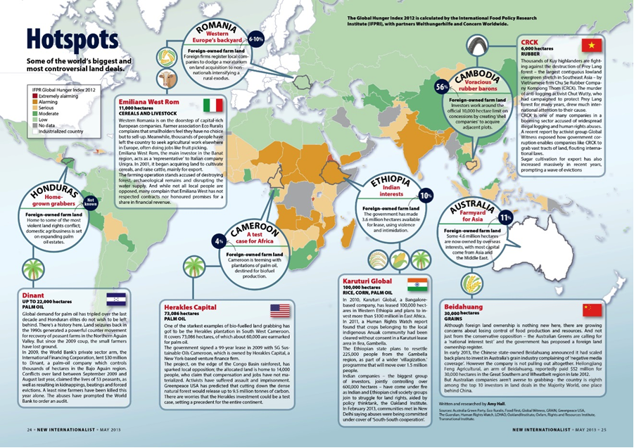 Source : http://newint.org/features/2013/05/01/land-grabs-hotspots-infographic/