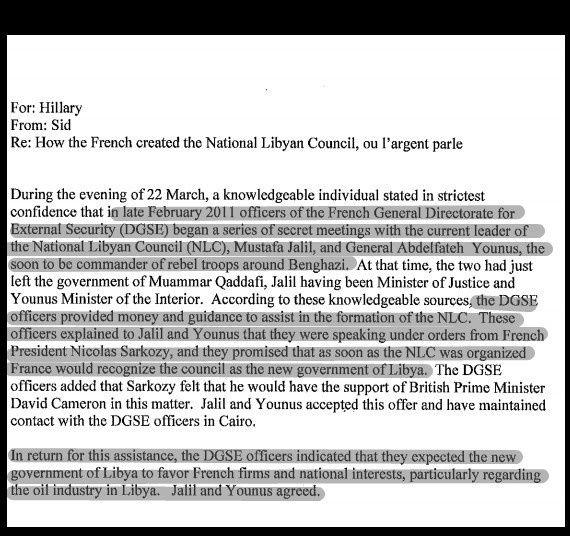 Selon MdP, Nicolas Sarkozy a préparé et voulu la guerre en Libye pour des raisons militaires et économiques, la DGSE a activement participé à la création du gouvernement de transition et BHL a joué les VRP de l'Élysée.