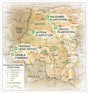 Les plantations de Feronia. (Carte : Feronia)