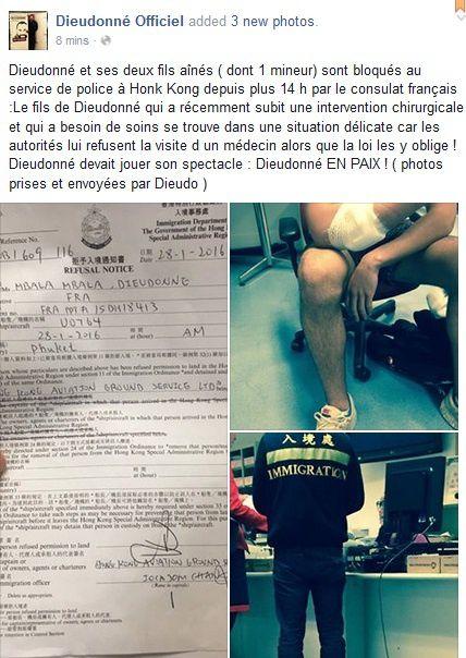 Selon le journal SCMP, Dieudonné aurait été arrêté à l'aéroport de Hong Kong sous la pression des consulats français et israélien