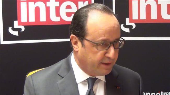 Le président français, François Hollande au micro de France Inter© France Inter