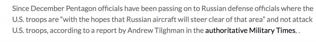 Washington demande à Moscou de ne pas bombarder les militaires étasuniens actifs sur le terrain au nord de la Syrie (Global Research.ca)