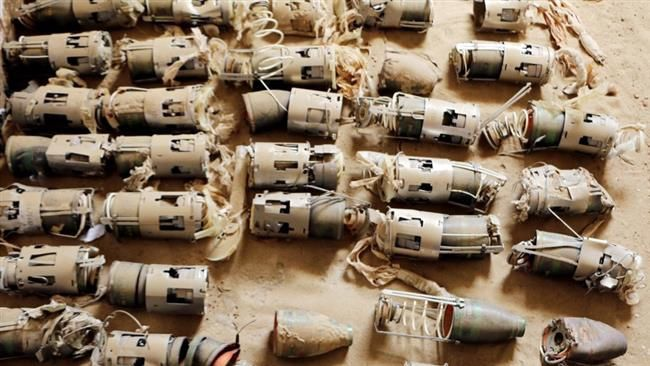 Les restes de sous-munitions d'une bombe de fabrication britannique à Hajjah (nord du Yémen). ©Amnesty International