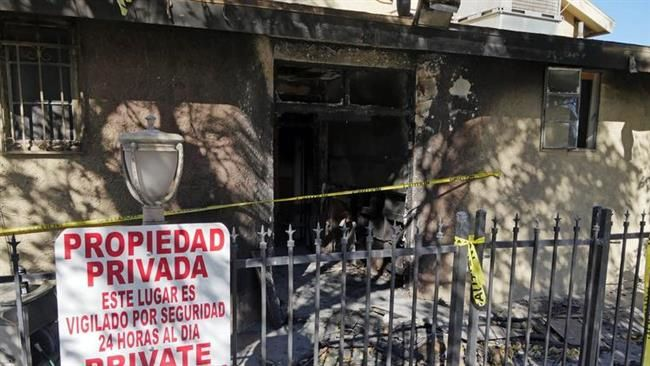 Incendie criminel au Centre islamique de Palm Springs (Californie), le 12 décembre 2015. ©Los Angeles Times