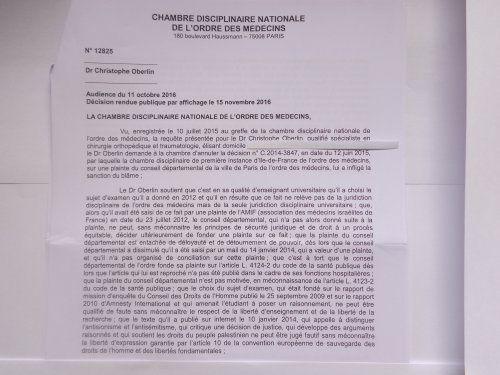 L'ordre des médecins ravale ses accusations d'antisémitisme contre Christophe Oberlin (CAPJPO-EuroPalestine)