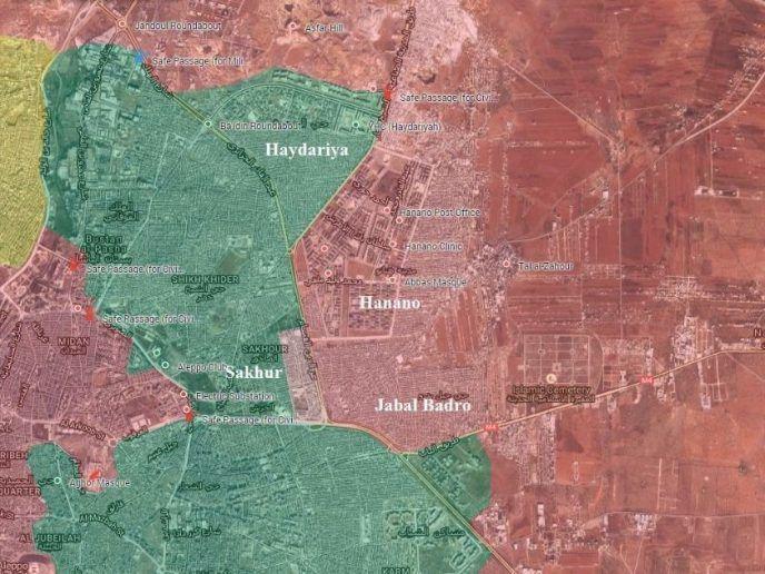 [Carte] Avance majeure de l'armée syrienne et de ses alliés dans la ville d'Alep (Almasdar News)