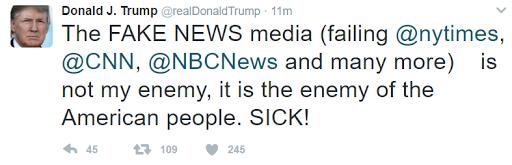 Donald Trump déclare que CNN, NBC et le NYT sont des &quot&#x3B;ennemis du peuple étatsunien&quot&#x3B; car ils diffusent de &quot&#x3B;fausses informations&quot&#x3B;