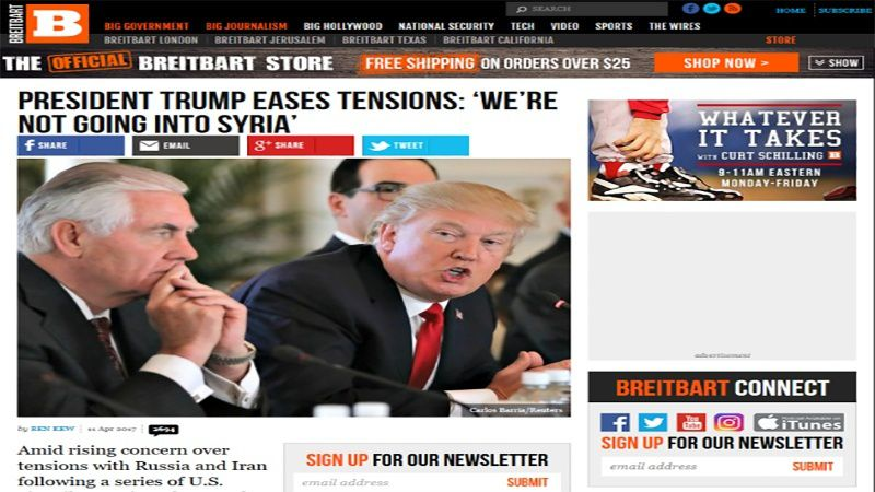 Selon Breitbart, Trump n'aurait plus l'intention d'intervenir en Syrie