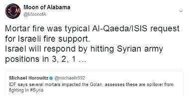 Le tir de mortier était, comme d'habitude, un appel d'al-Qaeda pour qu'Israël leur apporte un soutien militaire.  En réaction, Israël va frapper les positions de l'armée syrienne en 3,2,1…