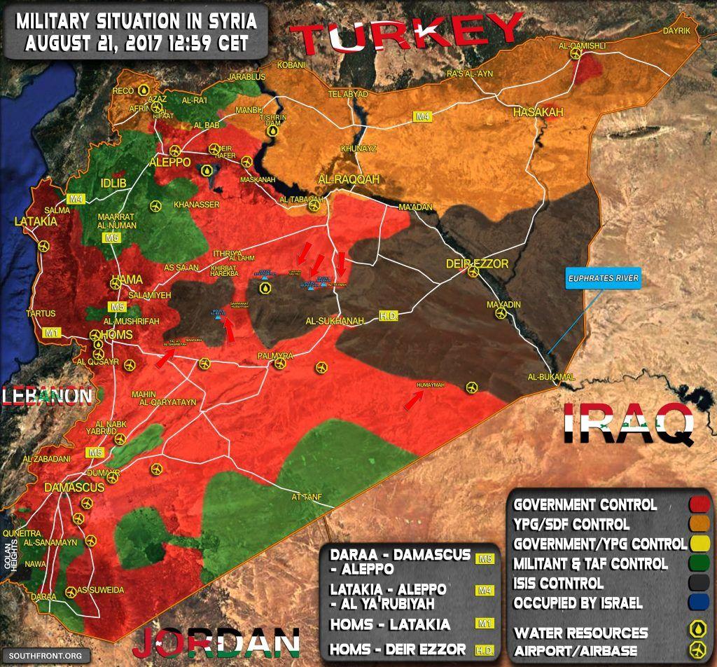[Carte] Situation militaire en Syrie au 21 aout 2017 (southfront)