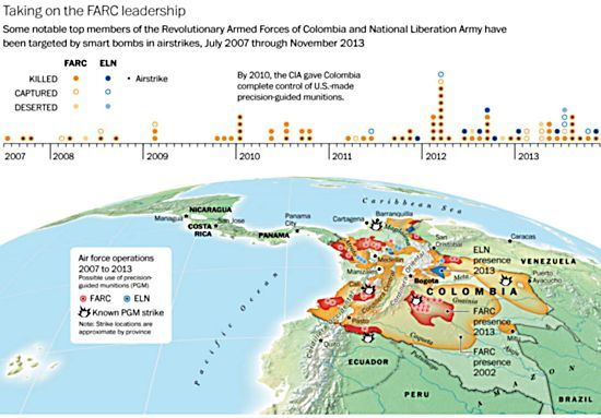 Sources : U.S. State Department, Pais Libre, Colombian Defense Ministry and the Air Force. Research and data compiled by Elyssa Pachico. Graphic by Cristina Rivero. Map by Gene Thorp.