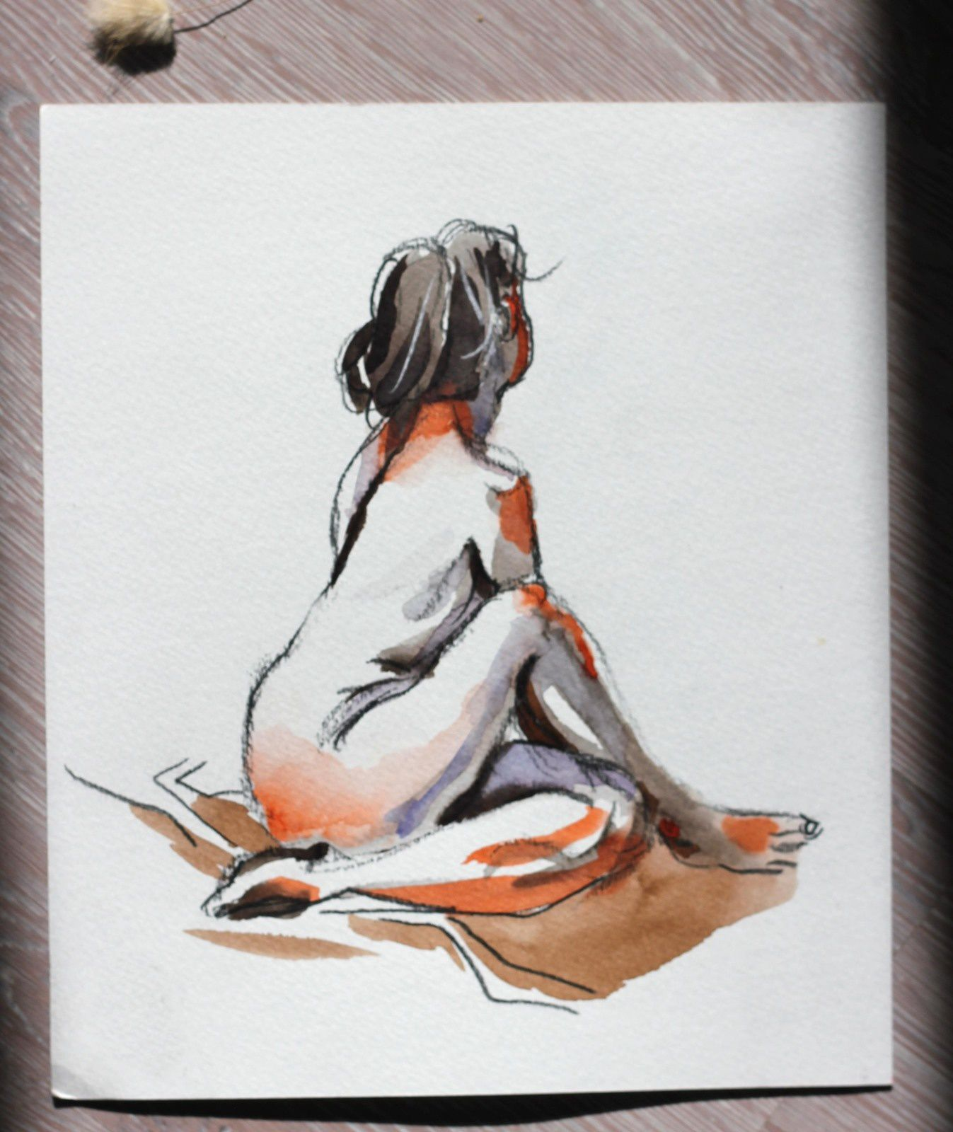 Modèle Vivant : pose de 5 minutes à l'aquarelle / Life-drawing : required time of 5 minutes, a watercolor