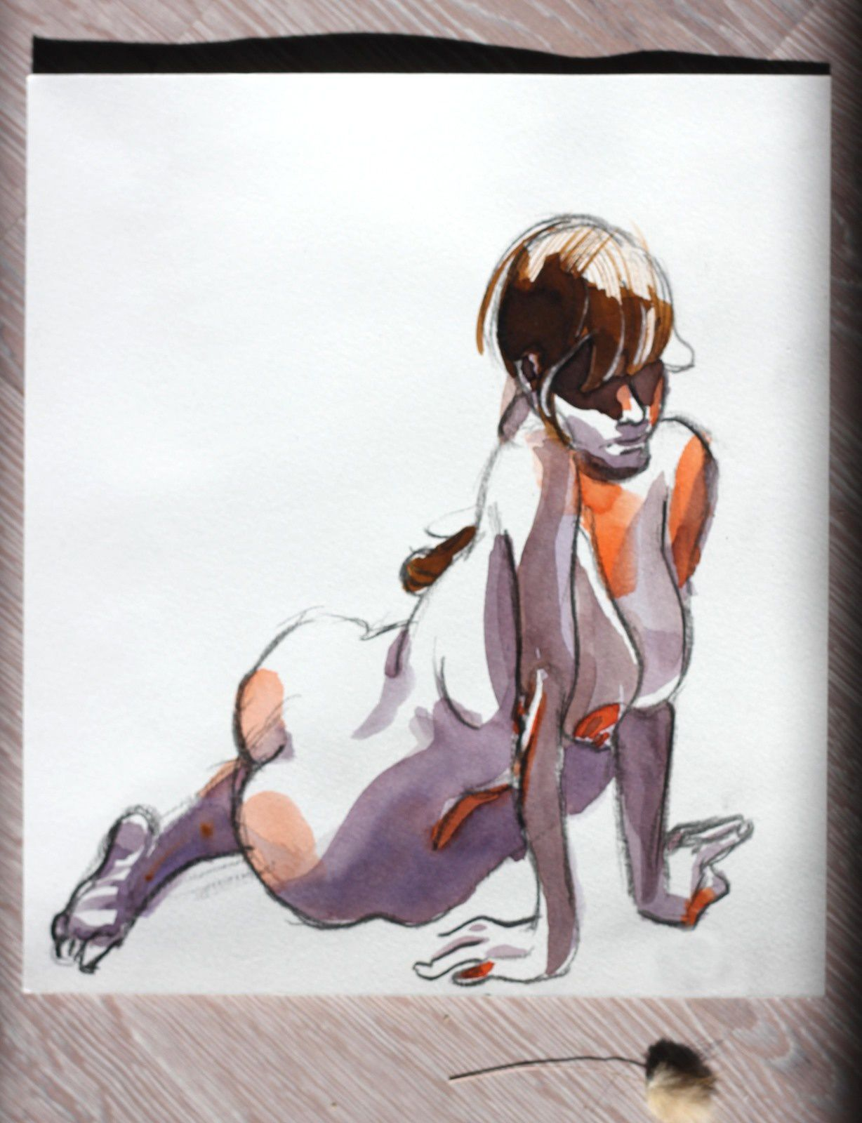 Modèle Vivant : pose de 10 minutes à l'aquarelle / Life-drawing : required time of 10 minutes, a watercolor