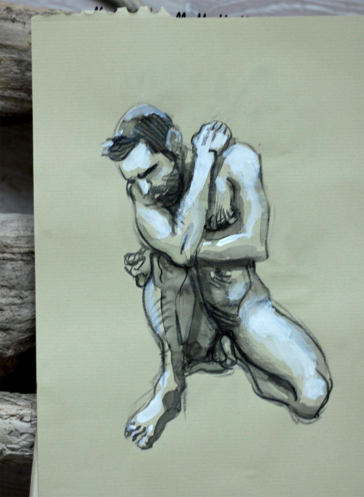 Modèle Vivant : pose de 10 minutes au crayon graphite, encre et acrylique sur du papier kraft / Life-drawing : required time of 10 minutes, graphite pencil, ink & acrylic paint on a kraft paper