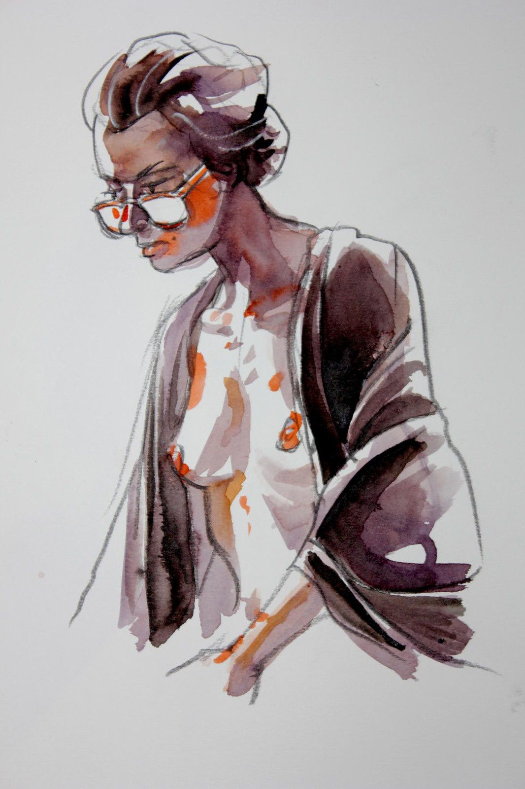 Modèle Vivant : pose de 12 minutes à l'encre aquarelle / Life-drawing : required time of 12 minutes,with brillant watercolour