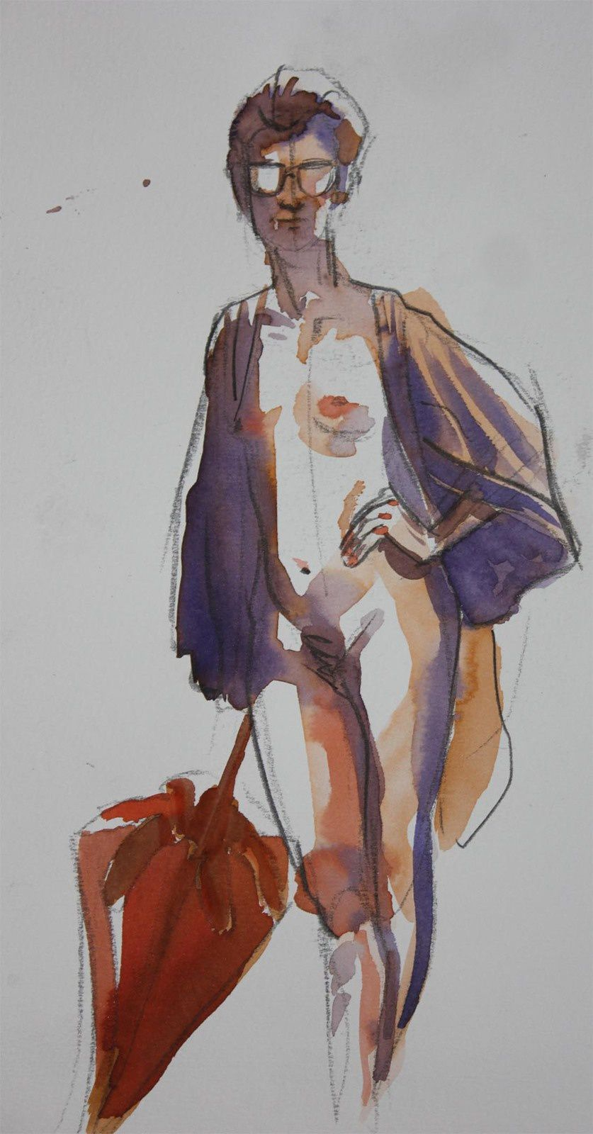 Modèle Vivant : pose de 10 minutes à l'encre aquarelle / Life-drawing : required time of 10 minutes, with brillant watercolour