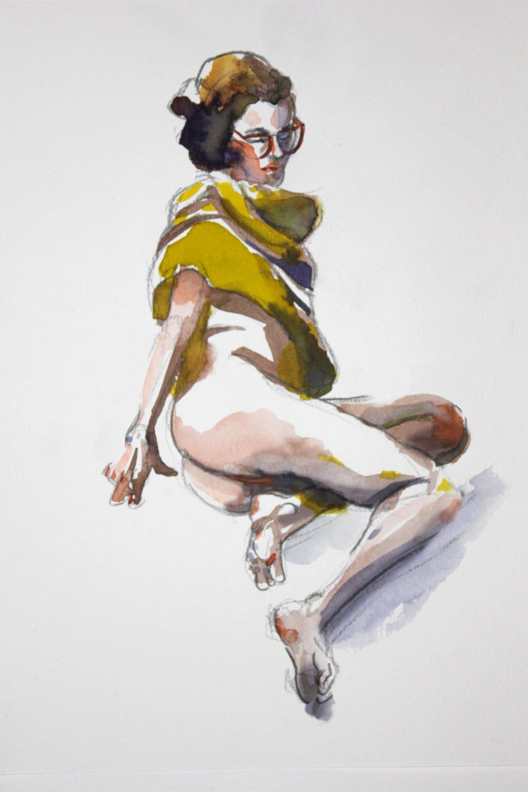 Modèle Vivant : pose de 12 minutes à l'encre aquarelle / Life-drawing : required time of 12 minutes, with brillant watercolour