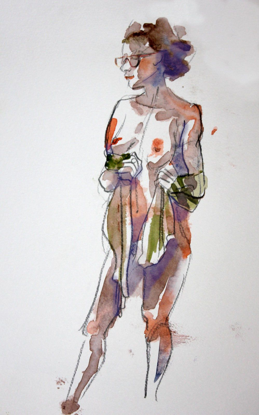 Modèle Vivant : pose de 7 minutes à l'encre aquarelle / Life-drawing : required time of 7 minutes, with brillant watercolour