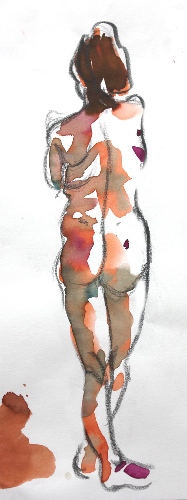 Modèle Vivant : pose de 5 minutes à l'encre aquarelle / Life-drawing : required time of 5 minutes, with brillant watercolour