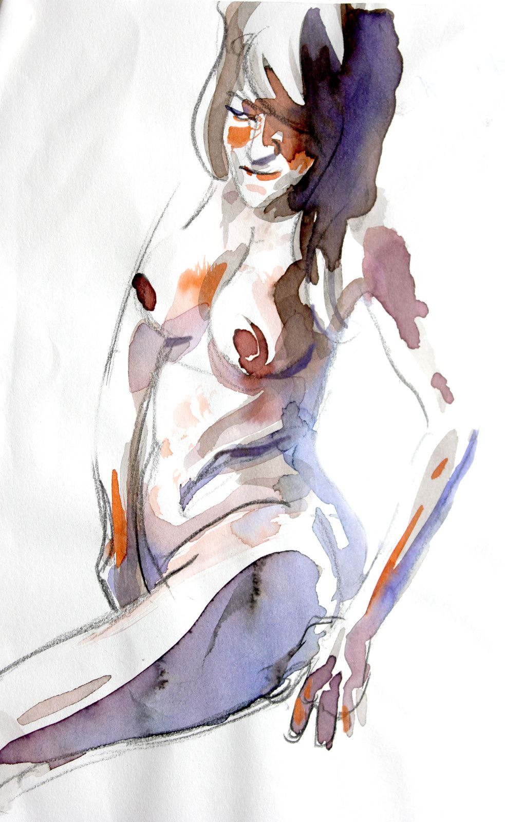 Modèle Vivant : pose de 8 minutes à l'encre aquarelle / Life-drawing : required time of 8 minutes, with brillant watercolour