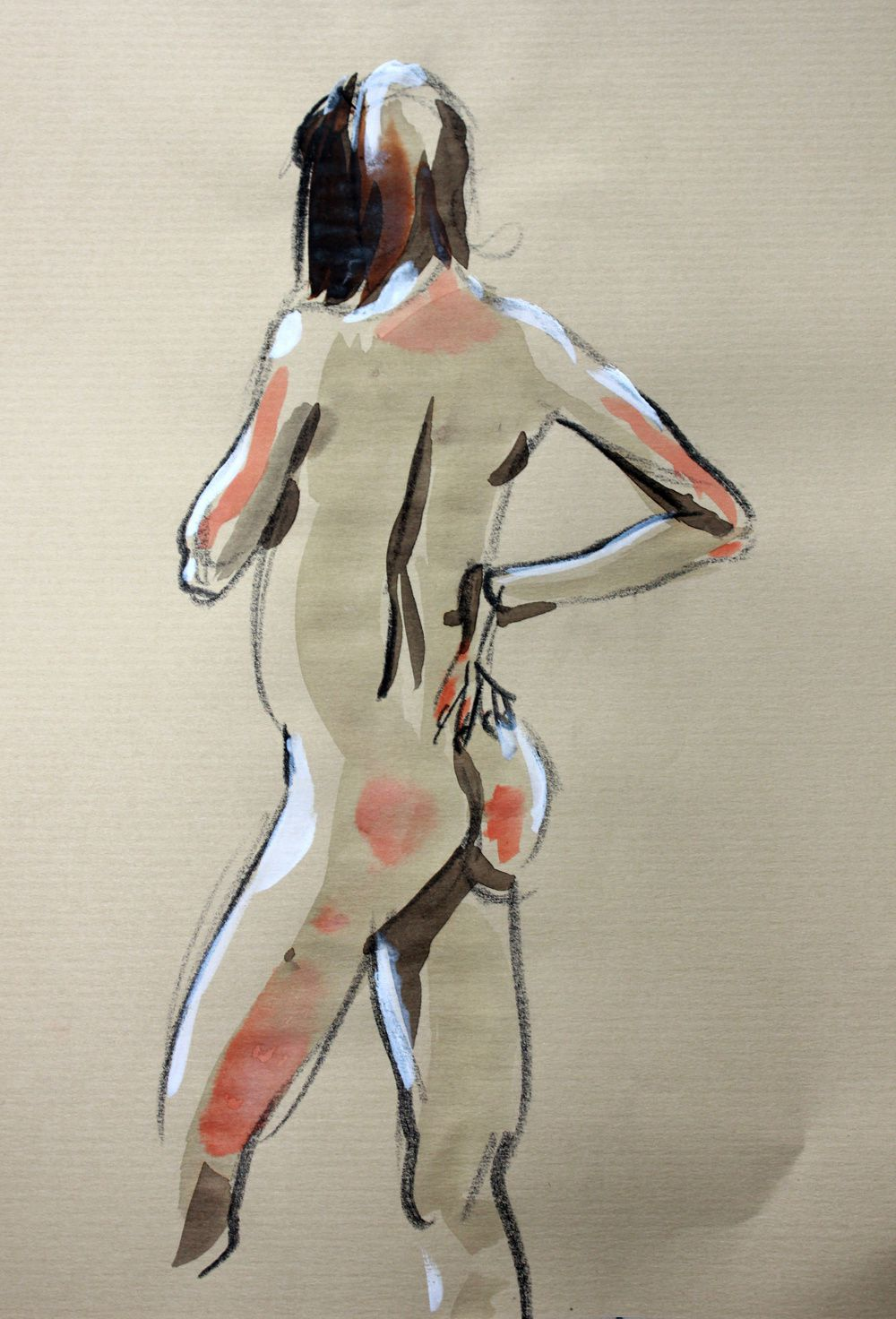 Modèle Vivant : pose de 6 minutes au crayon graphite, encre aquarelle et acrylique sur du papier kraft / Life-drawing : required time of 6 minutes, with brillant watercolour, graphite pencil & acrylic paint on a kraft paper