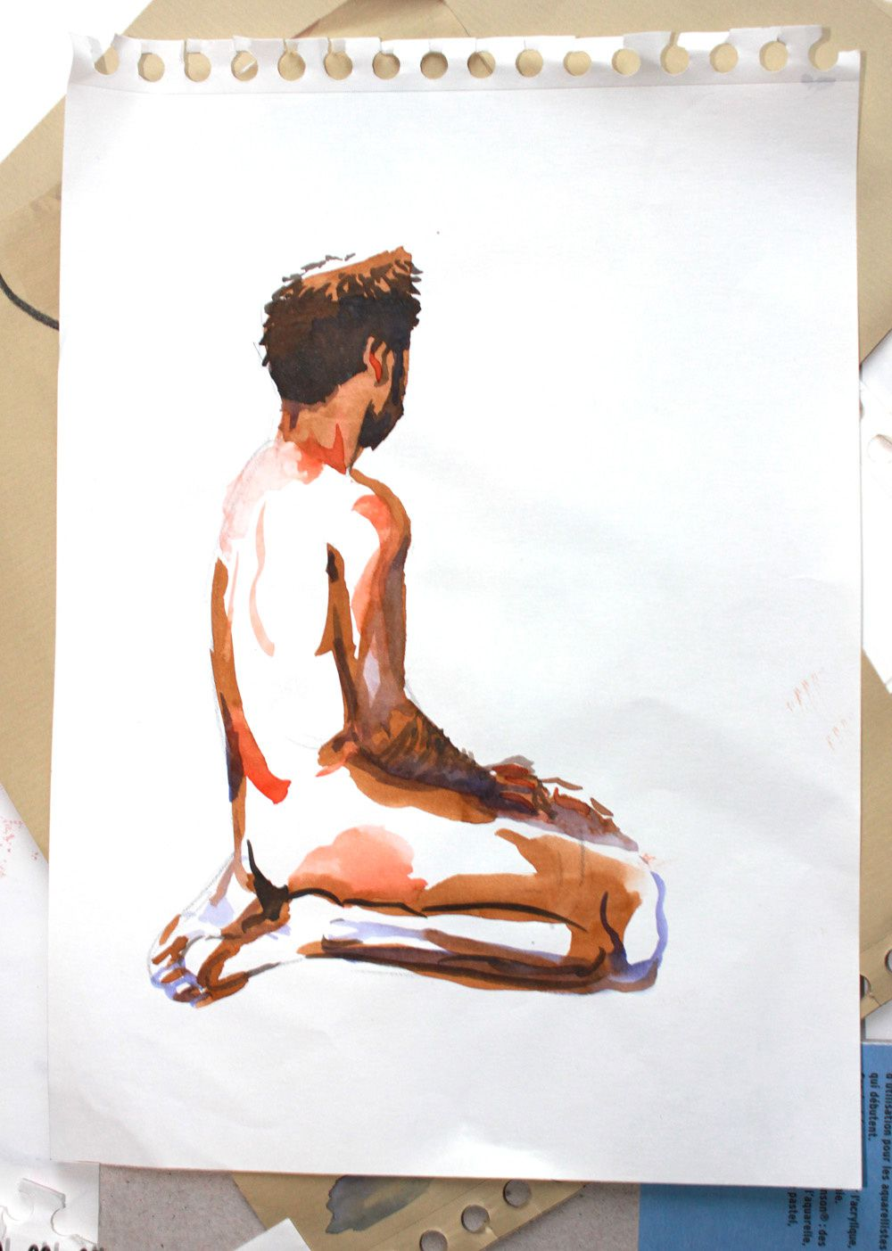 Modèle Vivant : pose de 8 minutes à l'encre aquarelle / Life-drawing : required time of 6 minutes, with brillant watercolour
