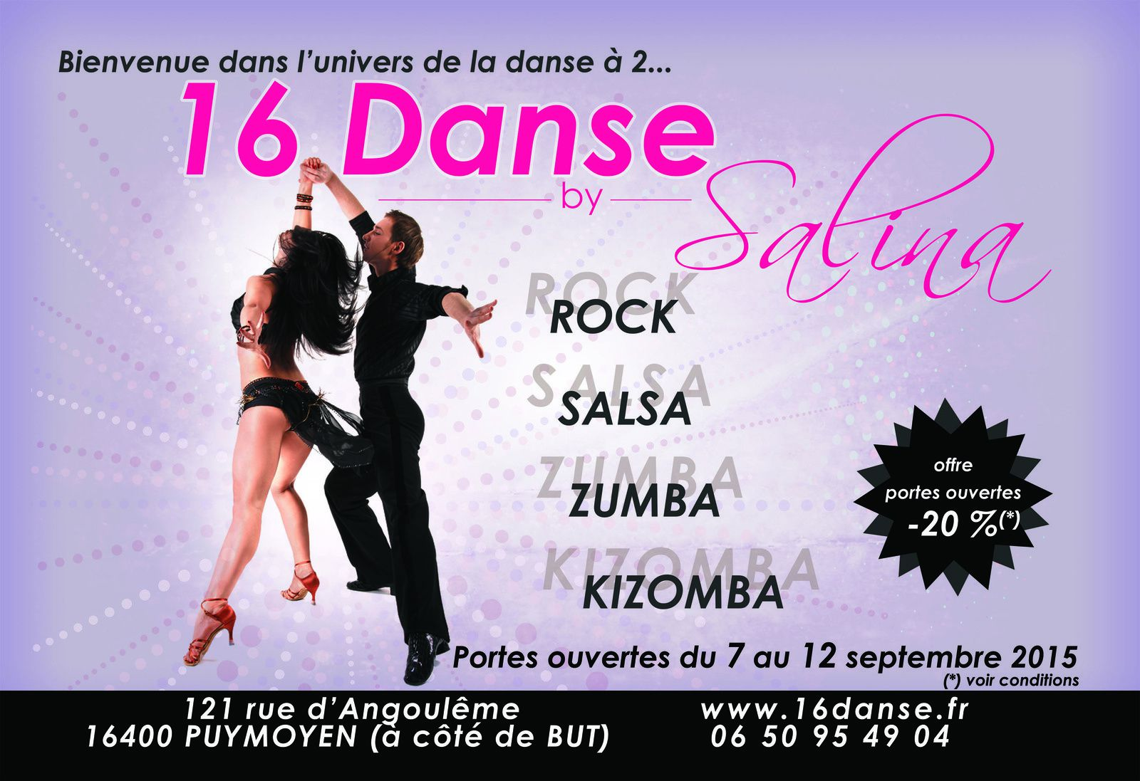 "realisation d'une affiche publicitaire pour une amie qui tient une école de danse ""16 Danse by Salina"" / I made an advertising poster for a friend. She has a dancing school ""16 Danse by Salina"""