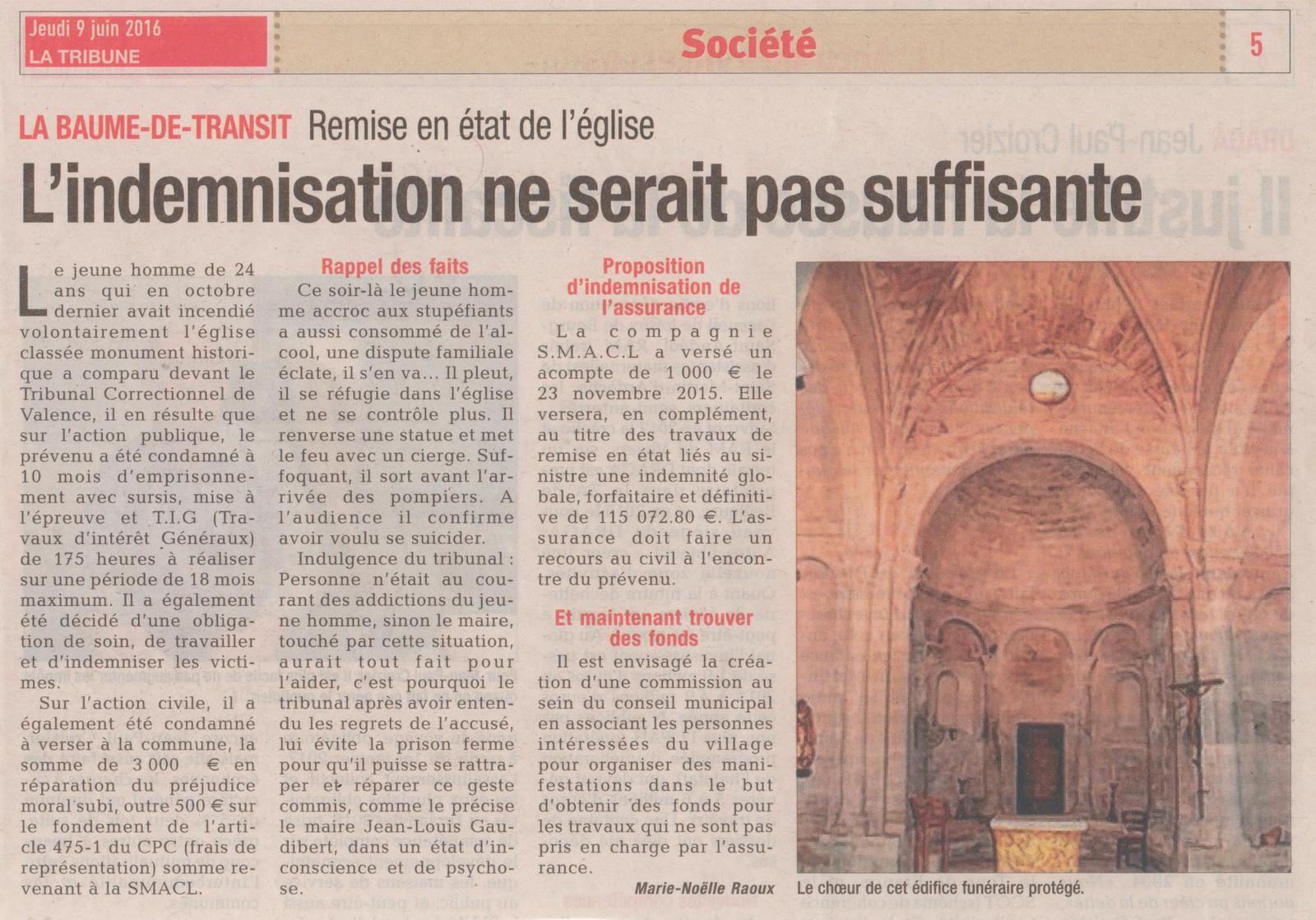 """Article du journal """"La Tribune"""" du 9 Juin 2016."""