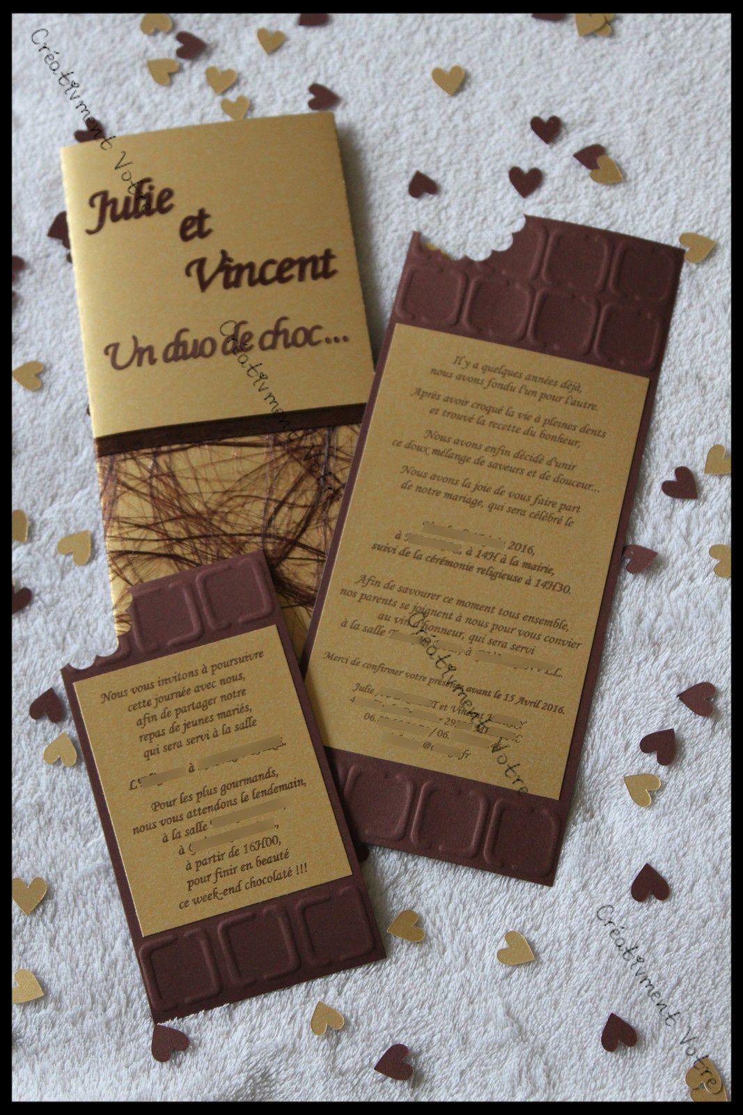 Top Faire Part Mariage Chocolat - Créativ'ment Votre WL91