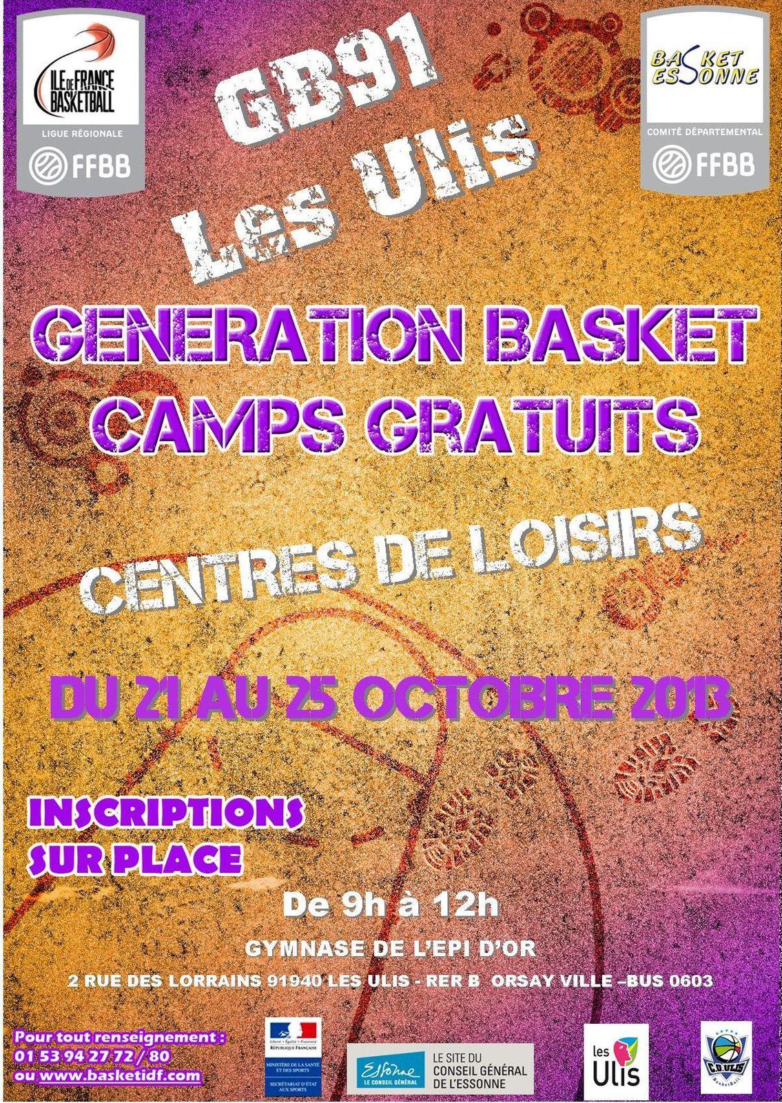 GENERATIONS BASKET Camps des vacances de la Toussaint