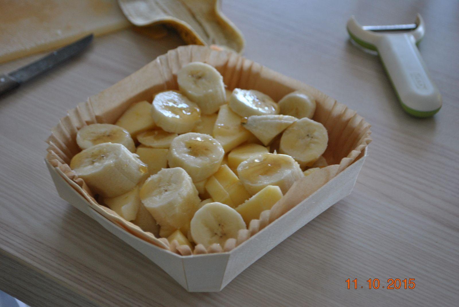 Crumble pommes, bananes et miel