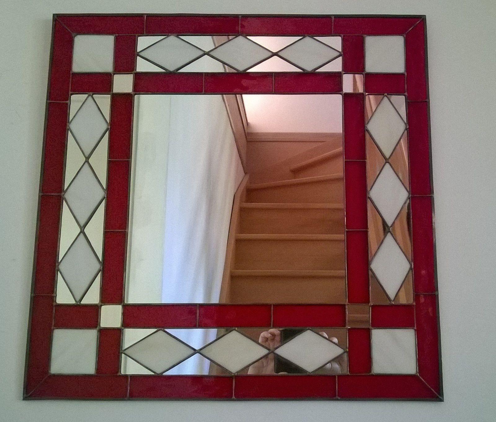 """Miroir """"losanges rouges"""""""