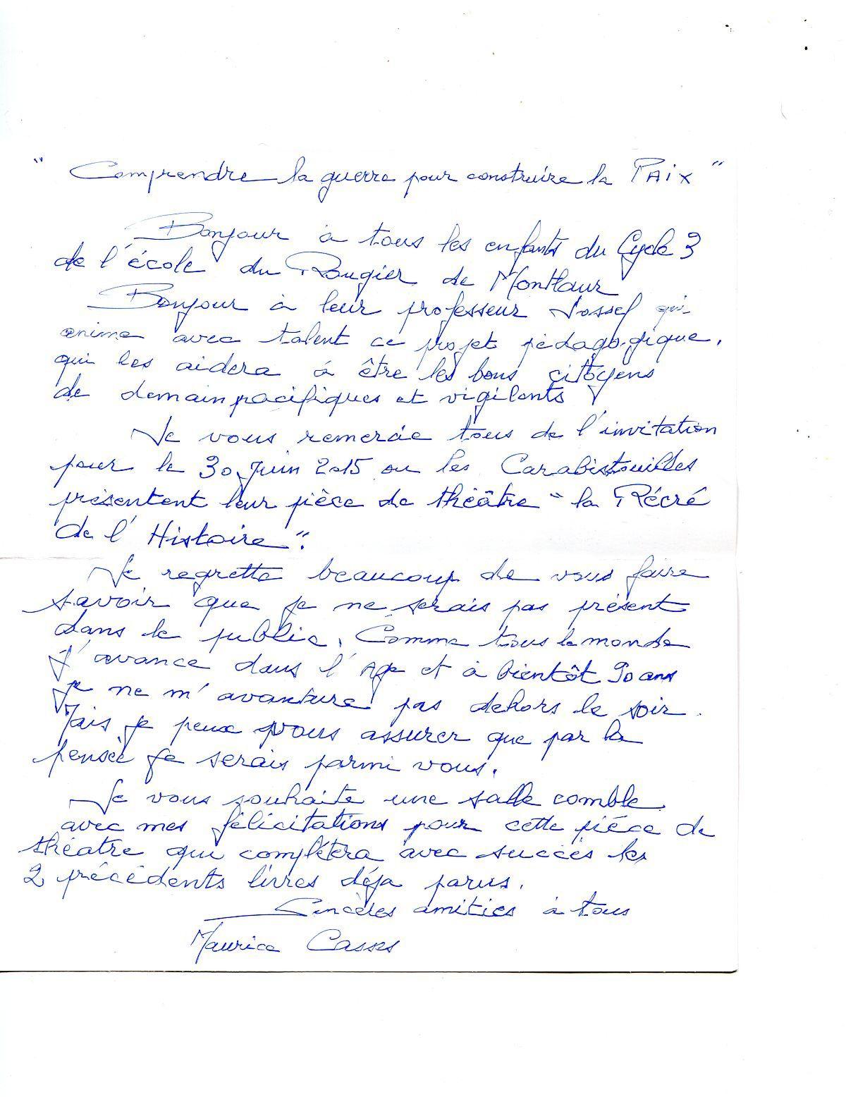 Courrier de Maurice Casses, ancien résistant, qui était venu à l'école nous parler de son action dans la Résistance.