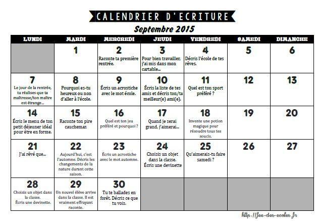 calendrier d'écriture septembre 2015