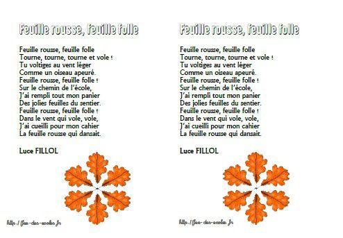 Feuille rousse, feuille folle - Luce Fillol - GS-CP-CE1-CE2