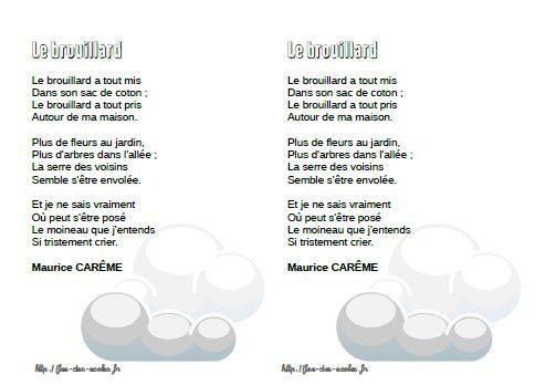 Le brouillard - Maurice Carême - CP-CE1-CE2-CM1-CM2