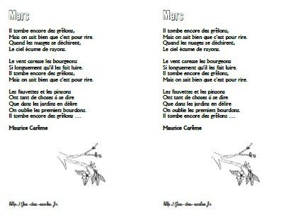 Mars - Maurice Carême - CP-CE1-CE2-CM1-CM2