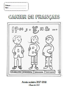 Page de garde pour le cahier de français - CP -CE1-CE2-CM1-CM2
